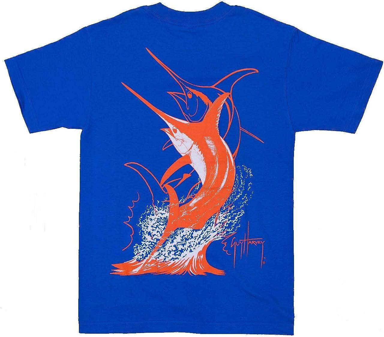 Guy Harvey Swordfish Strike Back-Print Pocket-Free Tee, Orange and White Printing on a Royal Blue Shirt - Medium…