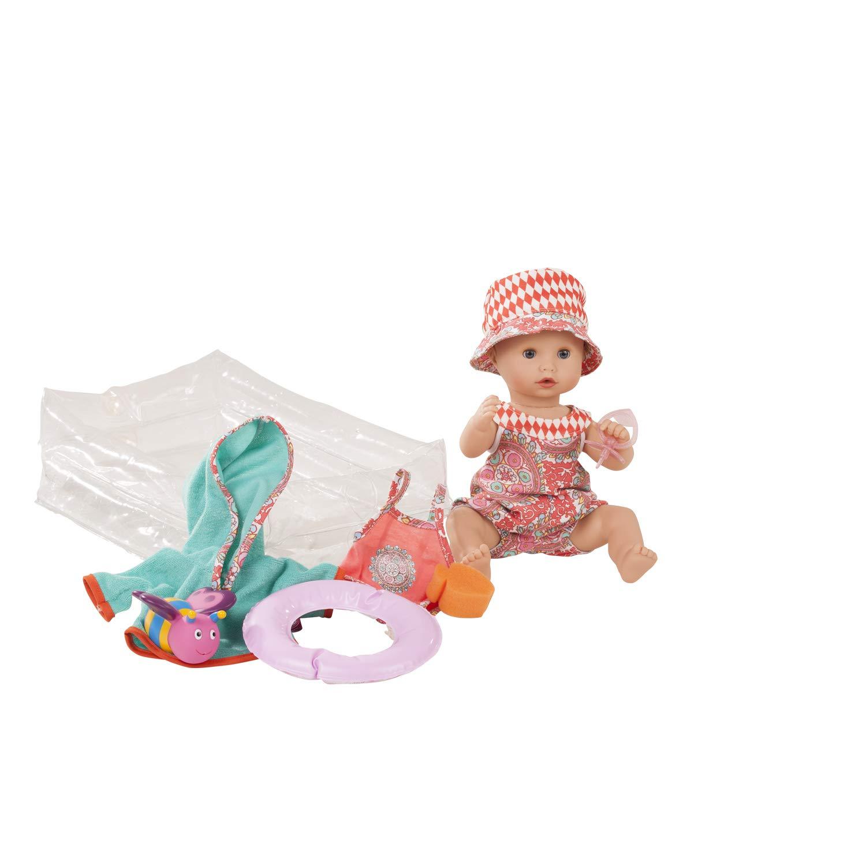 Götz Puppe Sleepy Aquini Girl Vintage – 33 cm große Badepuppe, ohne Haare, Blaue Schlafaugen, Spielzeug für Mädchen ab 3 Jahren (10-teiliges Set)