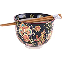 Quality Japanese Ramen Udon Noodle Bowl with Chopsticks Gift Set 5 Inch Diameter