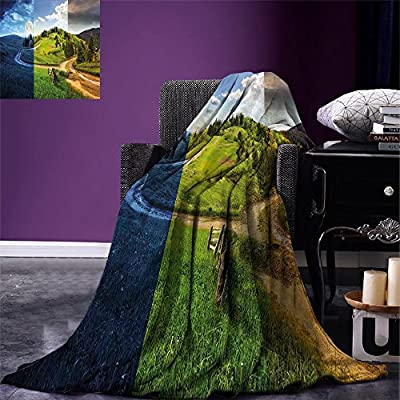 smallbeefly Nature Custom printed Throw Blanket Collage of Three Autumn Season Scene on Road Hillside Meadow in Mountain Range Print Velvet Plush Throw Blanket Multicolor: Kitchen & Dining