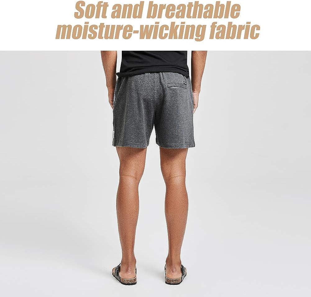 """MaaMgic Mens Athletic Gym Shorts 5.5"""" Elastic Waist Casual Pajama Pocket Jogger Men Workout Short Pants at  Men's Clothing store"""