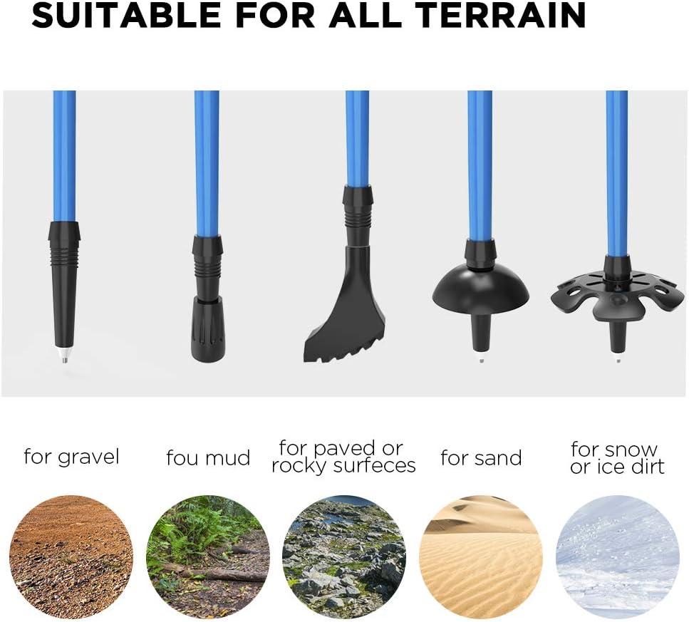 Ultral/éger Respirant Antid/érapant pour Alpinisme//Camping//Voyage ERAY B/âton de Randonn/ée Pliable en Fibre de Carbone et Alliage daluminium Blue