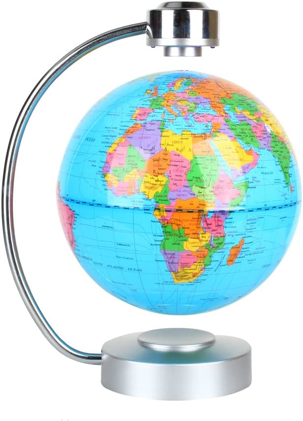 "Floating Globe, Office Desk Display Magnetic Levitating and Rotating Planet Earth Globe Ball with World Map, Cool and Educational Gift Idea for Him - 8"" Ball with Levitation Stand (Blue)"