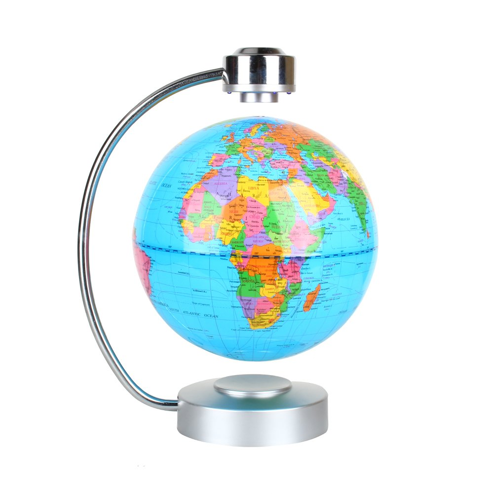 Floating Globe, Office Desk Display Magnetic Levitating and Rotating Planet Earth Globe Ball with World Map, Cool and Educational Gift Idea for Him - 8'' Ball with Levitation Stand (Blue) by zjchao