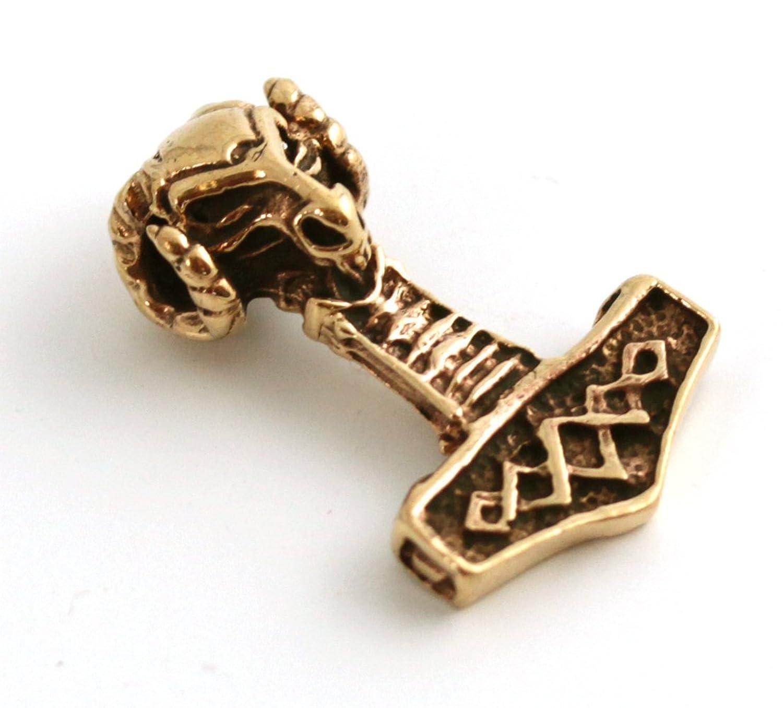 Bronze Mjolnir Thors Hammer Viking Odin Loki Rams Norse Pendant for Necklace Thailand Jewelry