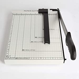"""Paper Cutter A4 Paper Trimmer 12"""" Cut Length Paper Cutter Guillotine 10 Sheet Photo Guillotine Craft Machine with Heavy Duty Gridded Base for Home Office"""