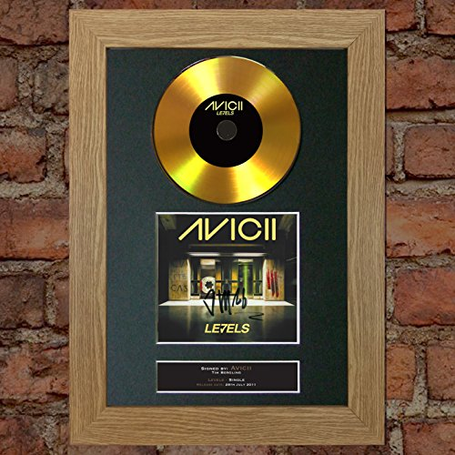 (#168 Gold CD Avicii Levels Signed Autograph CD & Cover Reproduction Print A4 Rare Perfect Birthday (297 x 210mm) (Oak Veneer Frame))