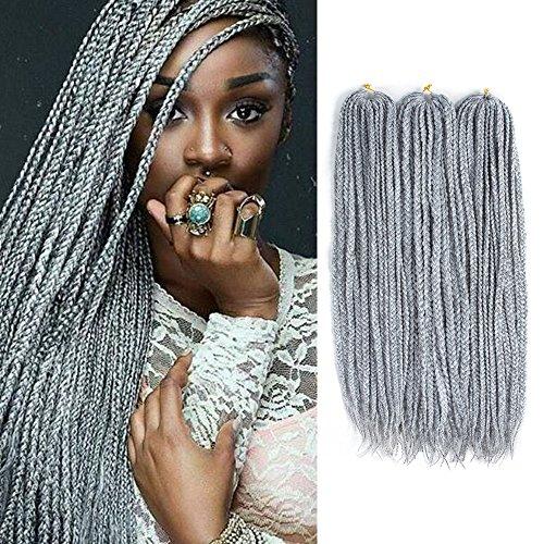 Lihui 7Pcs/lot Medium Box Braids Crochet Hair Crochet Box Braids Synthetic Hair Crochet Braids 22 Strands/pack(30Inch, 1B/Grey Color) ()