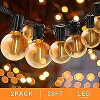 Svater Catena Luminosa Lampadina, 2x25FT Commerciale Catena Lampadine LED Esterno con 2x25 G40 Bulbi, Vintage Luce per Patio All'Aperto Giardino Festa Decorazione di Esterni Interni