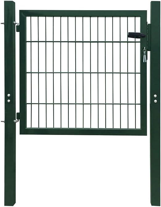 vidaXL Portillon 106x150 cm Acier Vert Portail porte de clôture de jardin