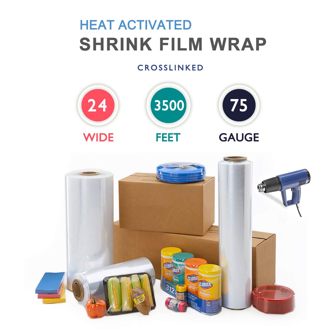 24'' x 3500 ft. Heat Shrink Film Wrap Strong Centerfold Polyolefin 75 Gauge Cross-Linked Heat Activated Shrink Wrap, 1 Roll