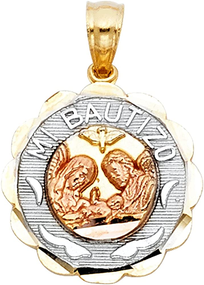 14K Tri Color Gold Baptism Charm Pendant with 2mm Hollow Cuban Bevel Chain Necklace