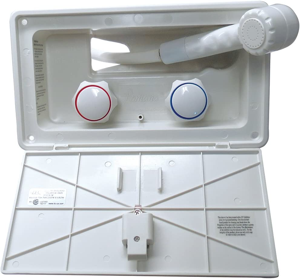 Fontanna 97022-A-5-DB Artic White Compact Exterior Shower with Latch and White Knob