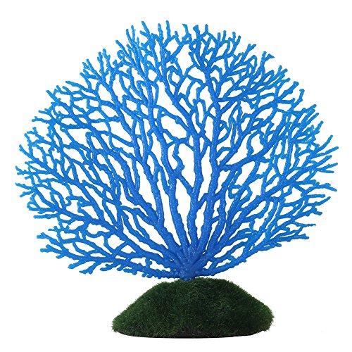 Artificial Coral Ornament Strip Coral Plant Ornament Glowing Effect Silicone Artificial Decoration for Fish Tank Aquarium - Blue Decorations Aquarium