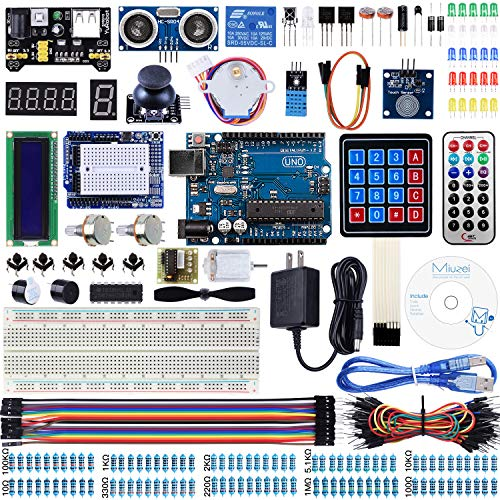 (Miuzei UNO R3 Starter Kit for Arduino Projects with UNO R3 Board, LCD1602 Module, Breadboard, Servo, 9V 1A Power Supply, sensors, LEDs, Detailed Tutorial MA13)