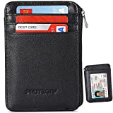 Rfid Blocking Sleeves Front Pocket Wallet for Men, Secure Sleeve Mini Card Holder with Zipper and Id Window, Genuine Leather Durable Slim Wallets