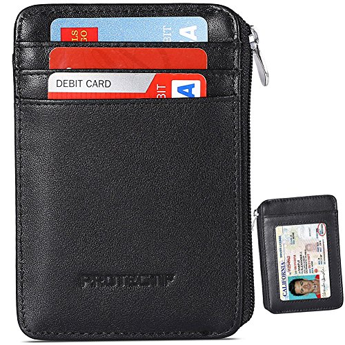 Rfid Blocking Sleeves Front Pocket Wallet for Men, Secure Credit Card Wallet Mini Card Holder with Zipper and Id Window, Genuine Leather Durable Slim (Zipper Window)