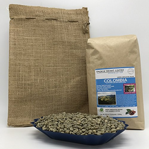 5-LBS COLOMBIA (in a FREE BURLAP BAG) – Green Unroasted Coffee Beans – Specialty-Grade – FRESH-HARVEST – HUILA is known for Producing Best Coffee in Colombia – Sustainably Grown in (Best Green Coffee Beans)