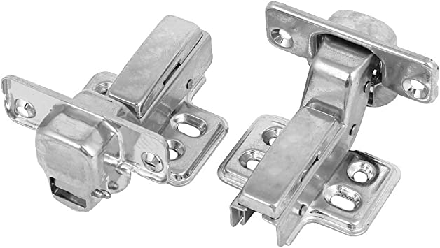 uxcell 304 Stainless Steel Face Frame Concealed Cabinet Full Overlay Door Hinges w Cover 4pcs