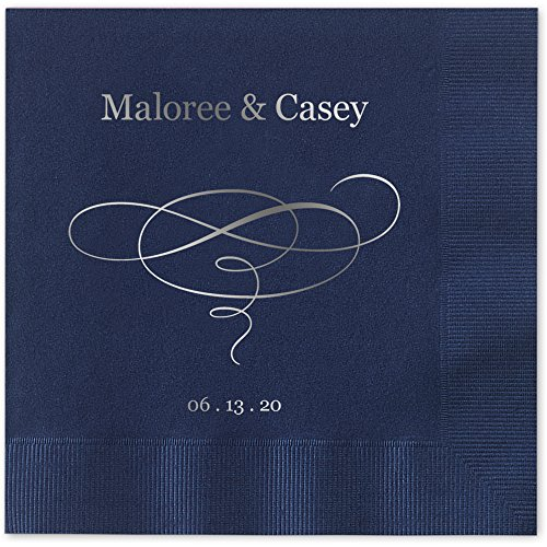 Elegant Swirl Personalized Luncheon Dinner Napkins - Canopy Street - 100 Custom Printed Navy Blue Paper Napkins (4021L)