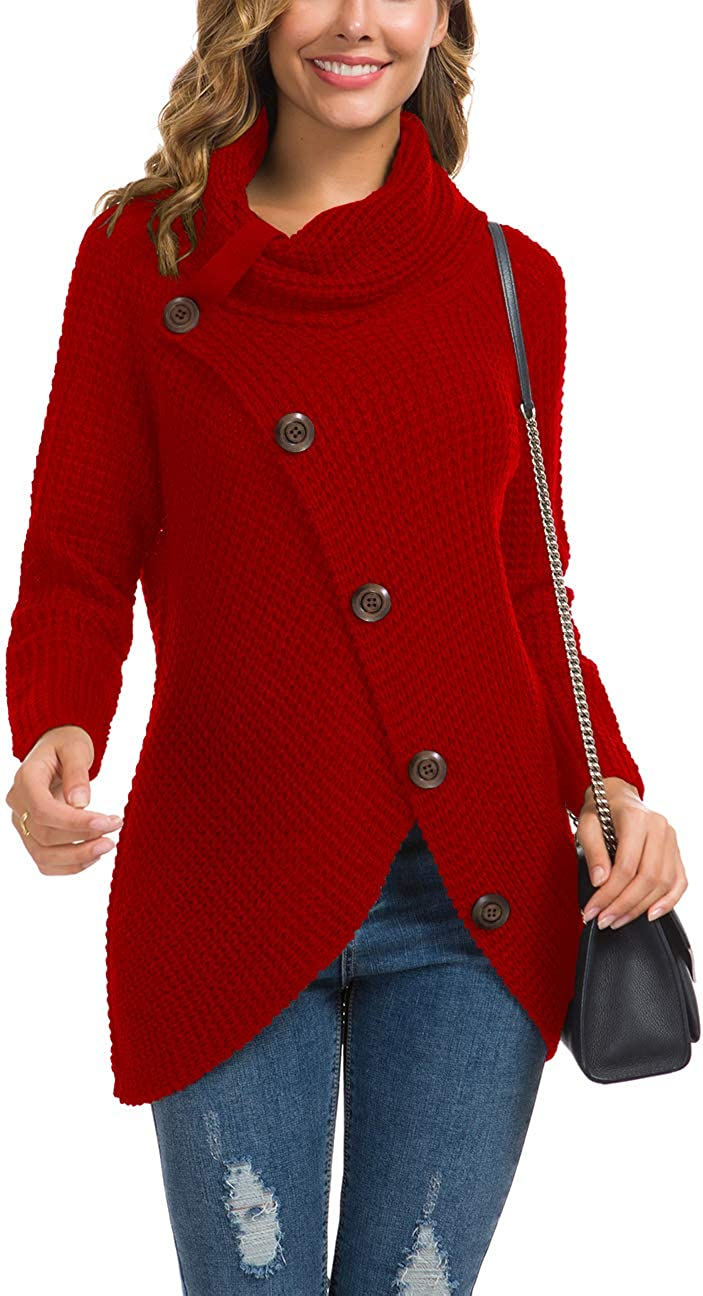 GRECERELLE Women's Casual Turtle Cowl Neck Asymmetric Hem Wrap Pullover Chunky Button Knit Sweater at  Women's Clothing store