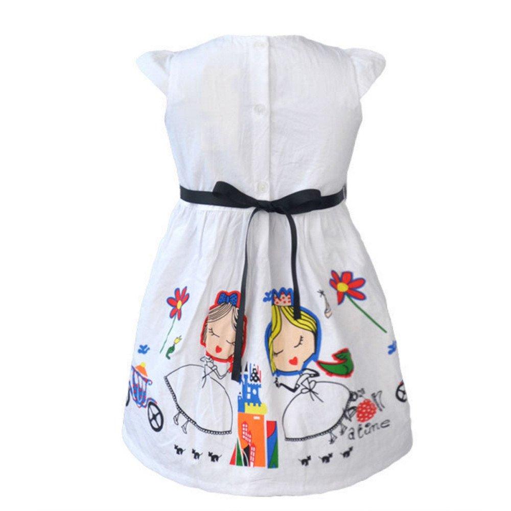 e8cdbd465e3 Amazon.com  Tanhangguan Kids Baby Girl Dresses Cute White Cartoon Princess  Dresses Summer Sundress Clothes Outfits with Belt  Clothing