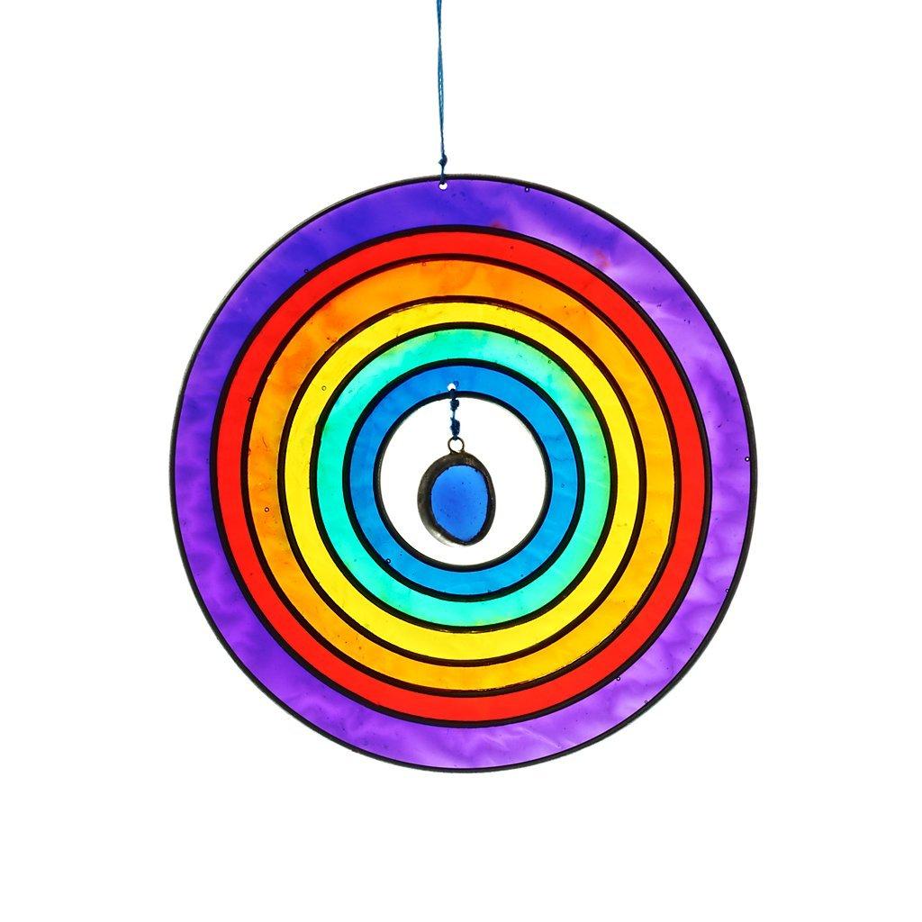 Window decor, wind chime, Suncatcher CIRCLE multi-colored, 15 cm, modern style (ART GLASS powered by CRISTALICA)