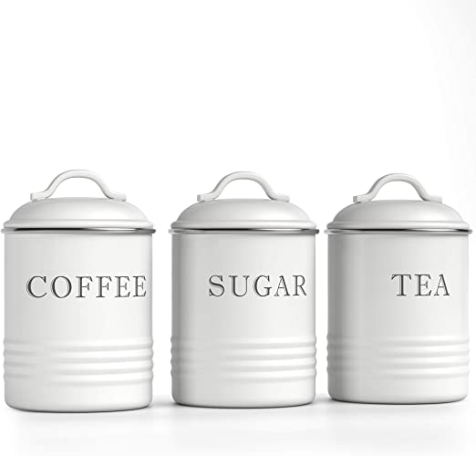 Barnyard Designs Airtight Kitchen Canister Decorations with Lids, White  Metal Rustic Farmhouse Country Decor Containers for Sugar Coffee Tea  Storage ...