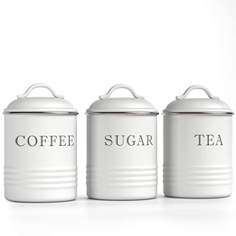 "Barnyard Designs Decorative Kitchen Canisters with Lids White Metal Rustic  Vintage Farmhouse Country Decor for Sugar Coffee Tea Storage (Set of 3) (4""  ..."