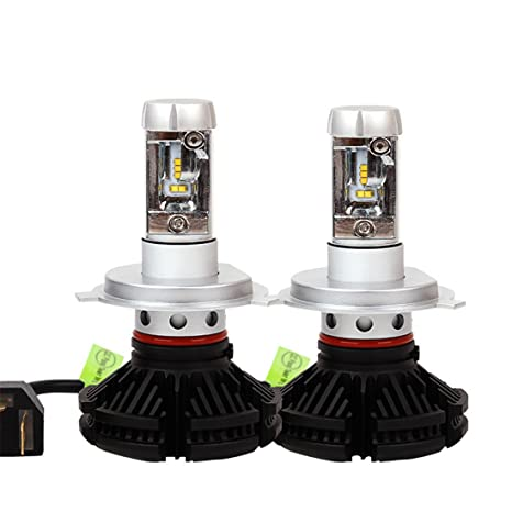 FEZZ Bombillas LED Coche Faros H4 Kits de Conversión Philips ZES Chips 8SMD 50W 6000LM 6500K