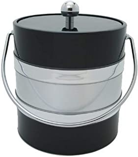 product image for Mr. Ice Bucket 3-Quart Two Tone Ice Bucket, Black and Silver