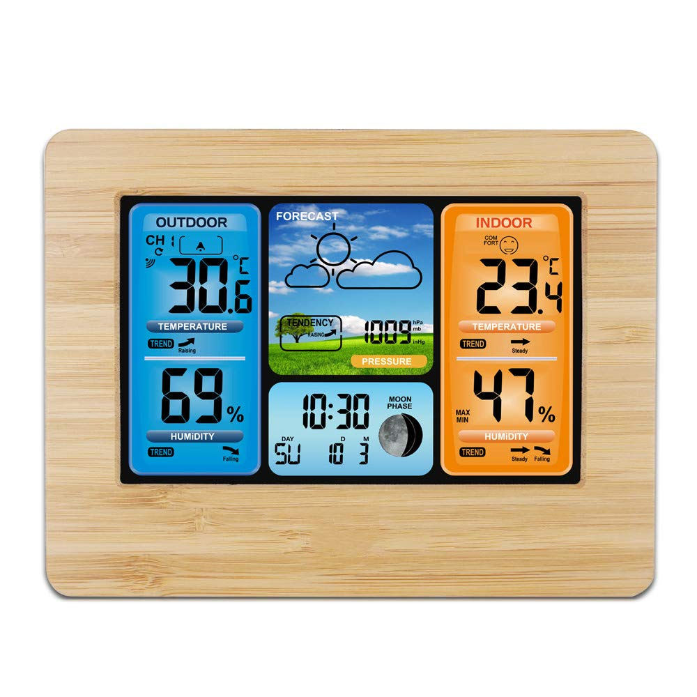 Multi-Function Electronic Alarm Clock RF Wireless Weather Calendar Indoor and Outdoor Use, Temperature, Humidity, Date and Time Readings, Colored Backlit Display (Stock)