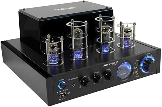 Rockville BluTube LED 70W Bluetooth Tube Amplifier/Home Stereo Receiver with Blue Illumination