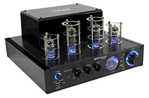 Rockville BluTube LED 70W Bluetooth Tube Amplifier/Home Stereo Receiver with Blue Illumination, Optical Input, Sub Output