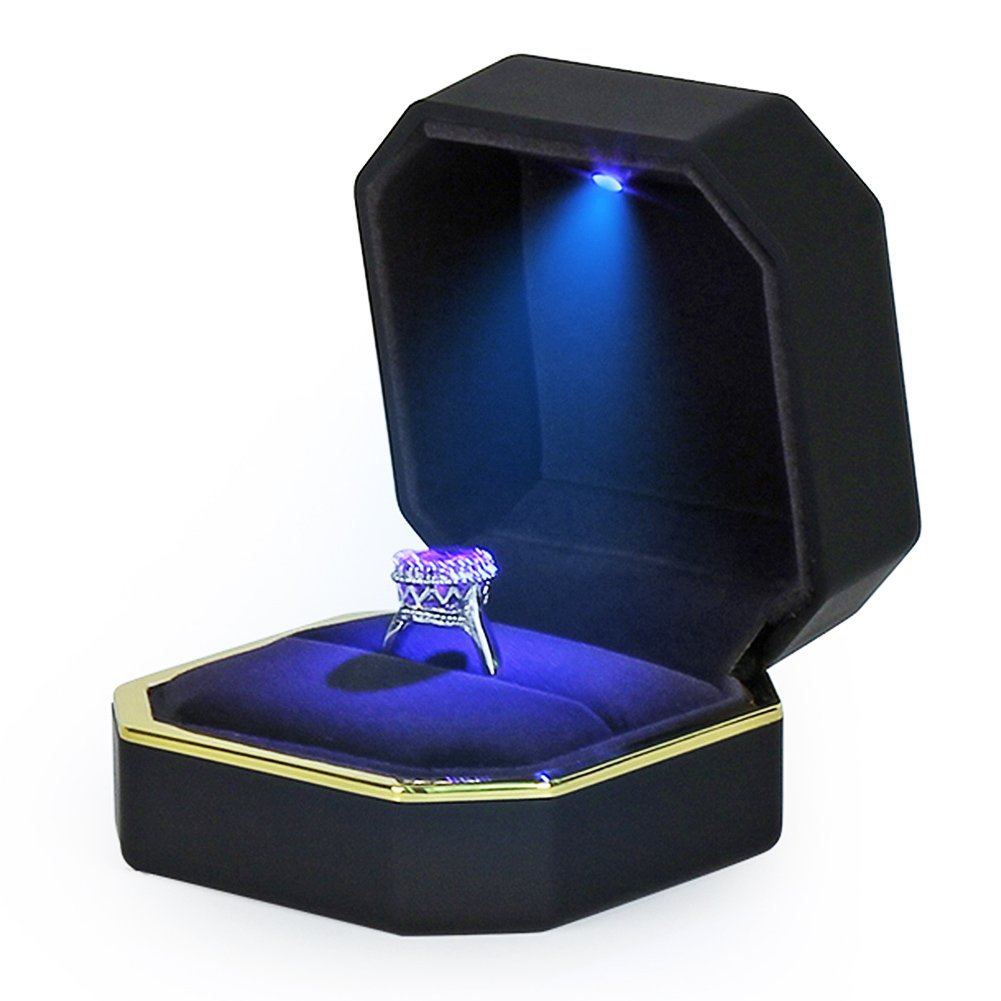 AVESON Luxury Ring Box, Square Velvet Wedding Ring Case Jewelry Gift Box with LED Light for Proposal Engagement Wedding, Black by AVESON (Image #3)