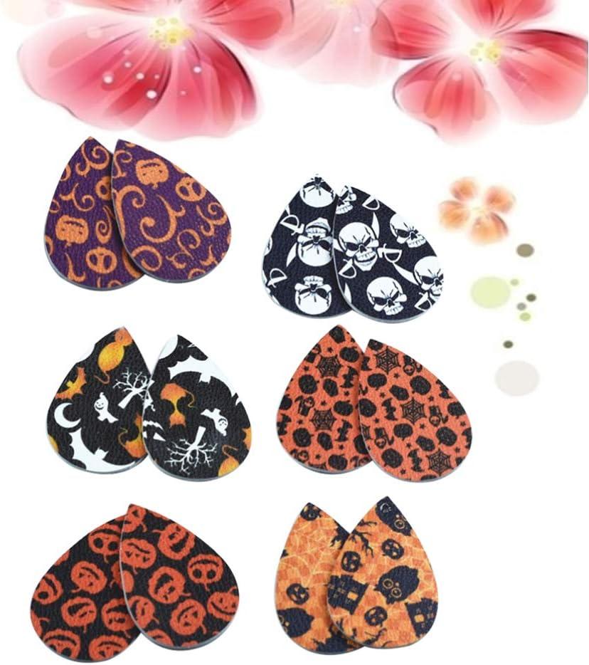 Halloween Earrings Pendants Artificial Leather Leaf Earring Halloween Eardrop Accessory for Party Festival 36 Pieces