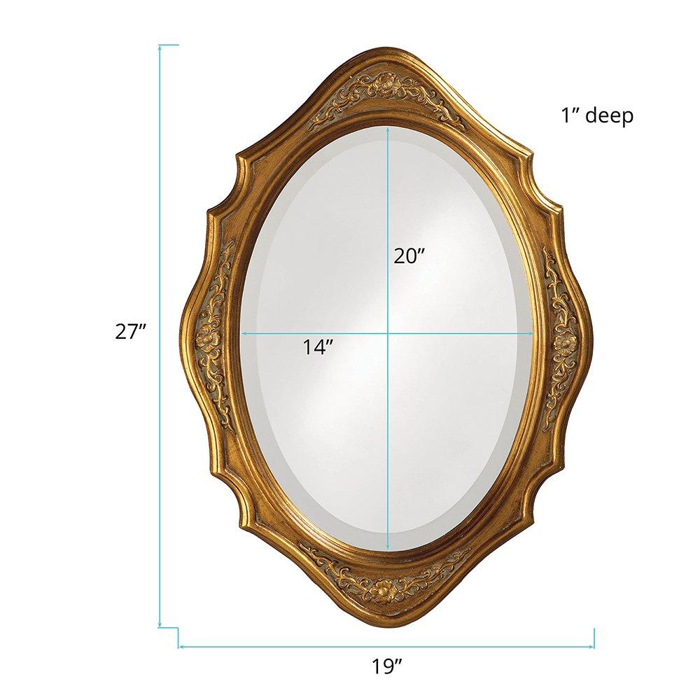 Howard Elliott 4052 Trafalgar Oval Mirror, 19 x 27-Inch, Virginia Gold Leaf