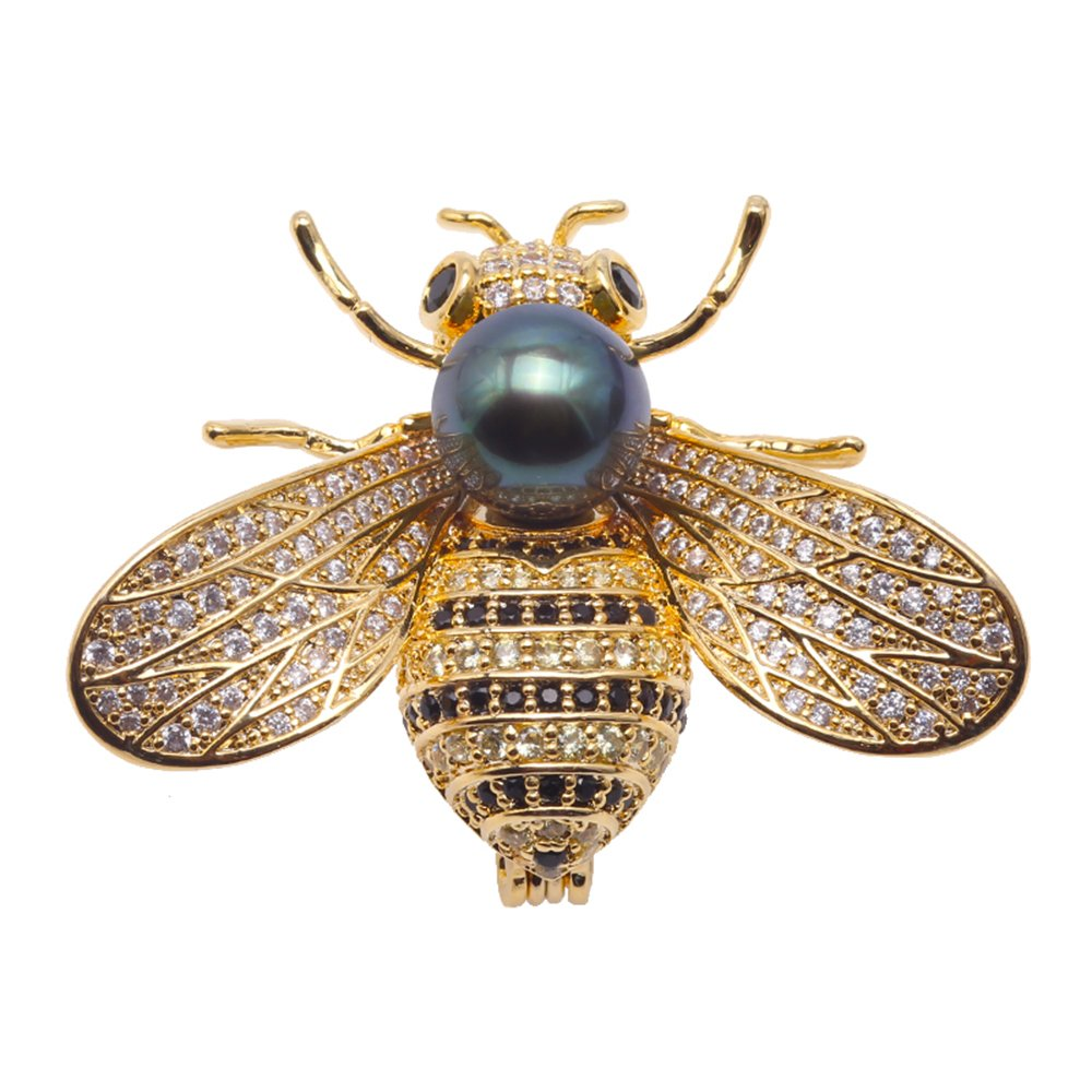 JYX Fine 9mm Tahitian Southsea Cultured Pearl Brooch Pin Pendant Bee-style by JYX Pearl (Image #1)