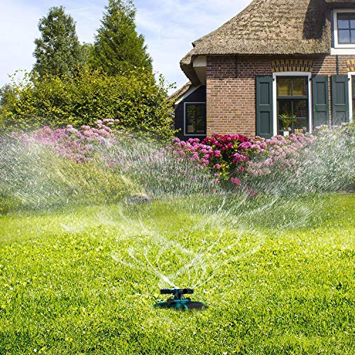 Sprinkler, Lawn Sprinklers Oscillating Water Irrigation Sprayer for Garden with Automatic 360 Rotating Head, Triple Arms & Easy Connection – Hose Sprinkler for Yard & Patio