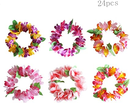 4 Pcs//set Hawaiian Flower Necklace Headband Garland Fancy Dress Party Hawaii Top