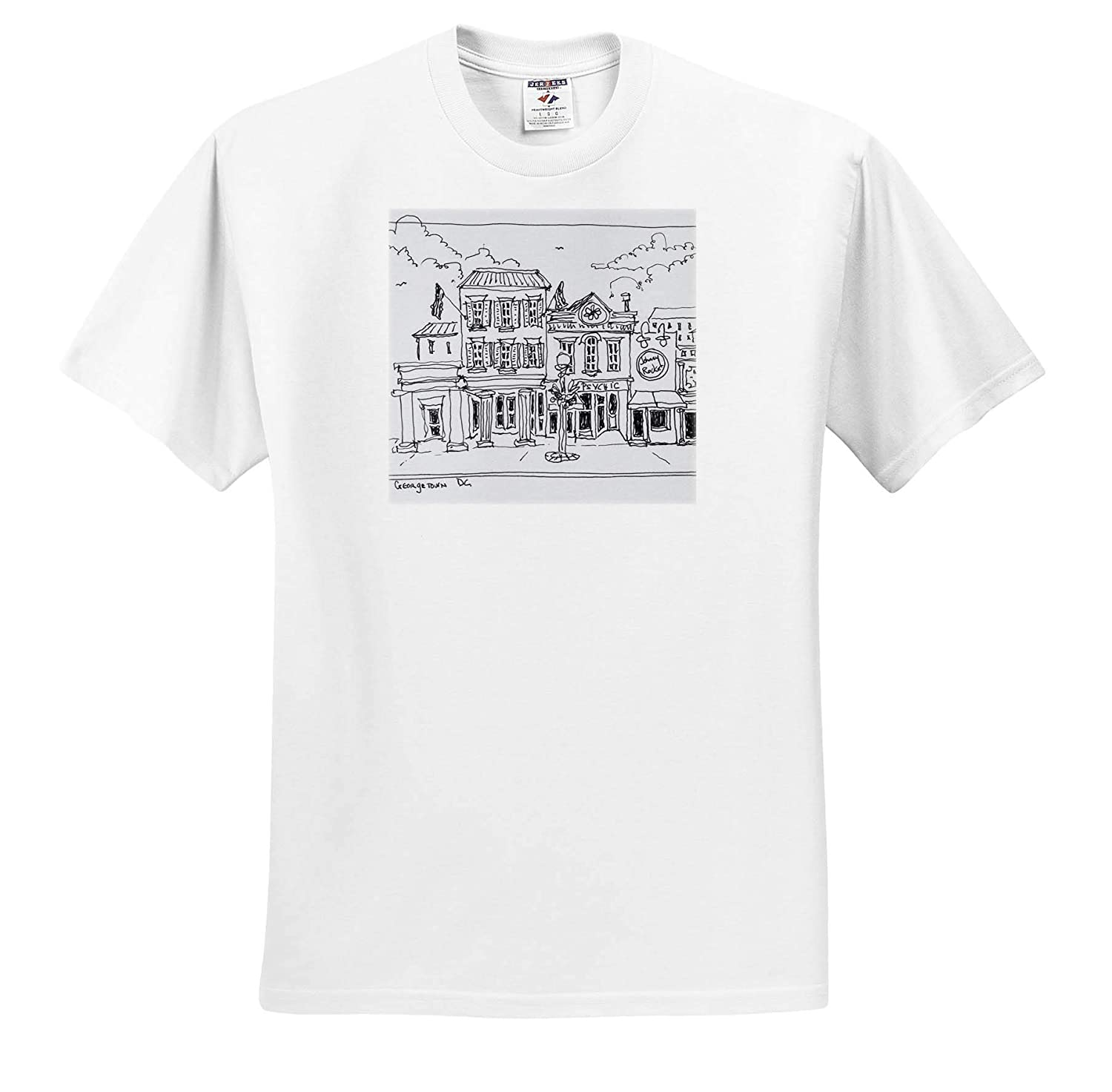 - Adult T-Shirt XL ts/_313043 Washington DC 3dRose Danita Delimont Washington DC Drawing of M Street in Georgetown