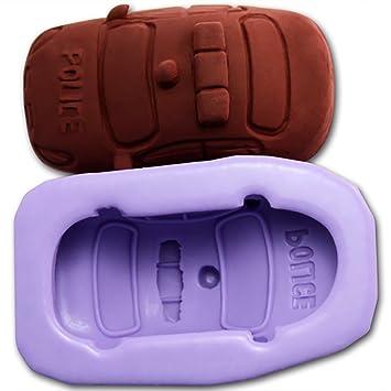 Coche de policía forma molde de silicona decoración de pasteles herramientas Chocolate Candy molde de horno para hacer jabón Nicole R1005: Amazon.es: Hogar