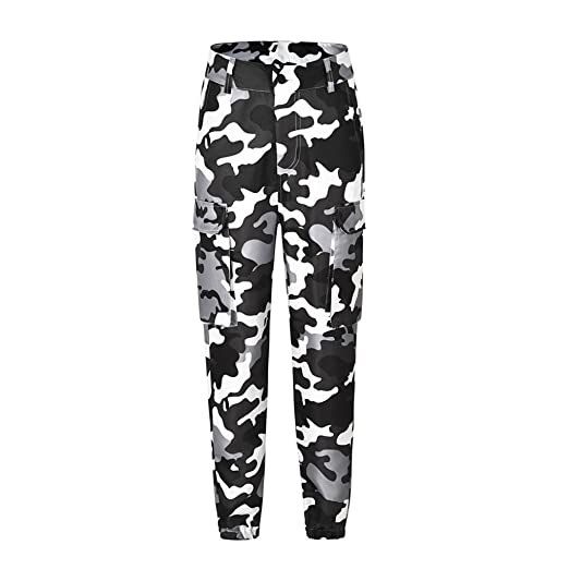 9006dc6861 Yuxikong Women Camo Cargo Trousers Casual Pants Military Army Combat  Camouflage Pants (White, S