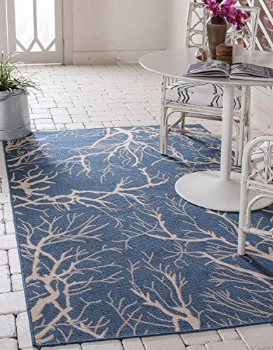 Unique Loom Outdoor Botanical Collection Abstract Pictorial Transitional Indoor and Outdoor Flatweave Blue Area Rug 9' 0 x 12' 0