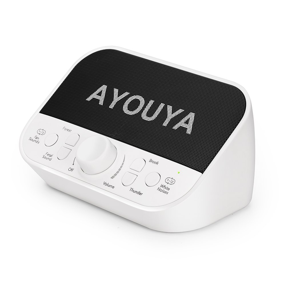 White Noise Machine, AYOUYA Sleep Sound Machine for Baby Kids Adults Home Office Privacy, 28 Soothing Sounds, 2×3W High-fidelity Speaker, 4 Auto-Off Timer, Memory Function, Headphone Jack (White)