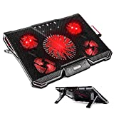 "TechVibe Laptop Cooling Pad For 12""-17"" Laptops, Gaming Cooling Pad, 5 Quiet Fans, LED Lights, and 2 USB 2.0 Ports, Adjustable Stand Mount, 2017 Model"