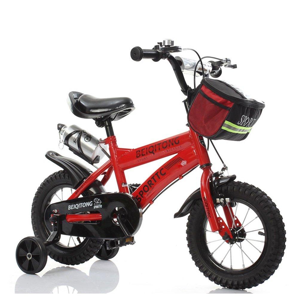 子供の自転車12|14|16|18|20インチ屋外の子供の赤ちゃんキッドマウンテンバイク黒のトレーニングホイールで2歳から11歳の男の子の女の子の贈り物|布バスケット|ウォーターボトル安全ダンピング B078JZ9NRS 18 inches|赤 赤 18 inches