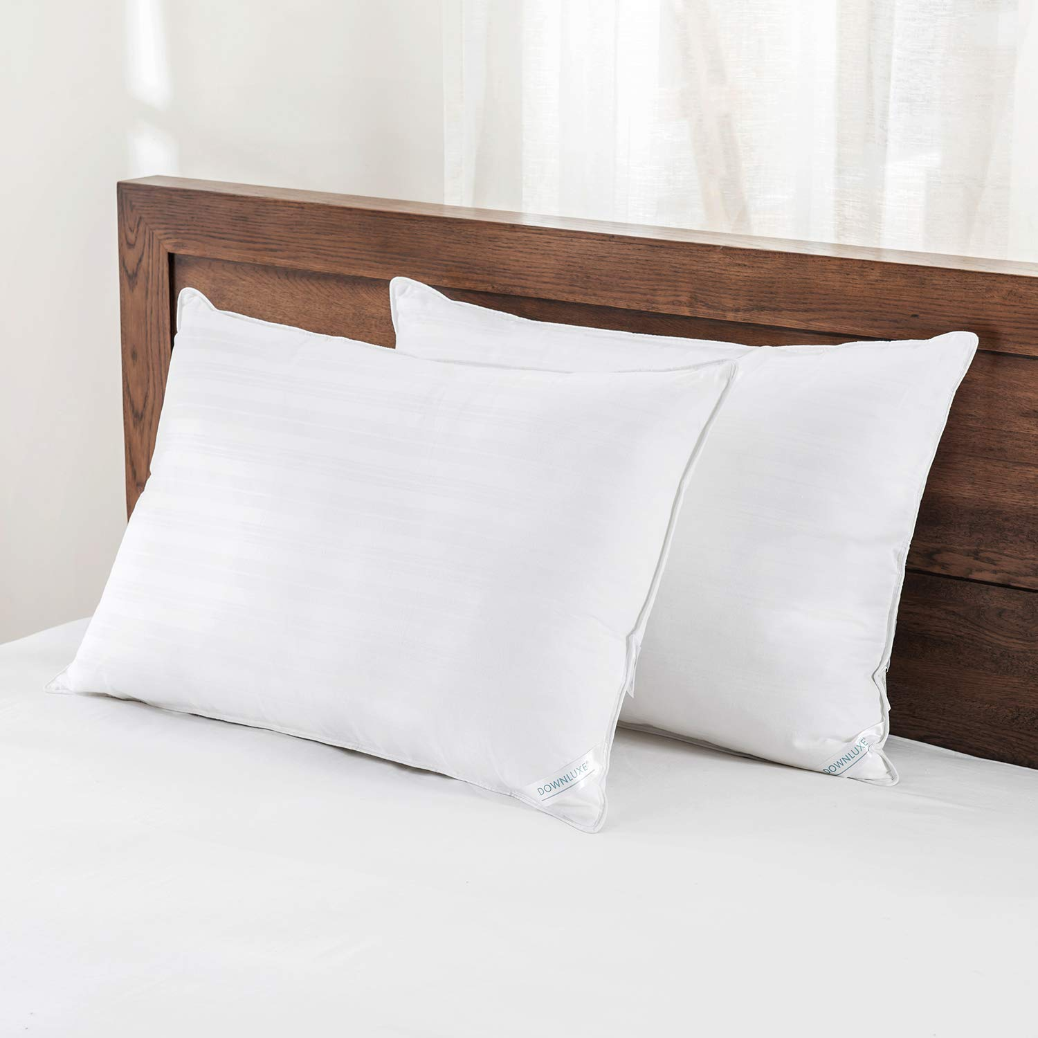 downluxe Down Alternative Bed Pillows Set of 2 Hypoallergenic Hotel Collection Fluffy Pillows for Sleeping,Standard Size 20x26