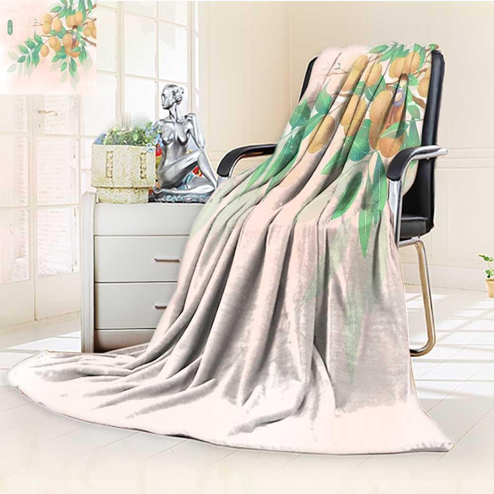 YOYI-HOME Plush Throw Duplex Printed Blanket Super Soft Cold Solar Term Illustration Warm Microfiber All Season Blanket Perfect for Couch Sofa/79 W by 47'' H
