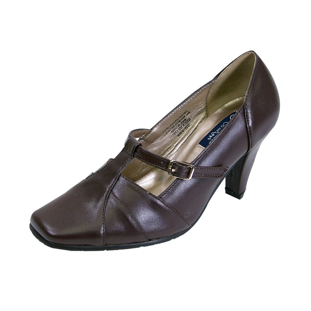 Peerage Isabel Women Extra Wide Width Square Toe T-Strap with Buckle Dress Pump Brown 7